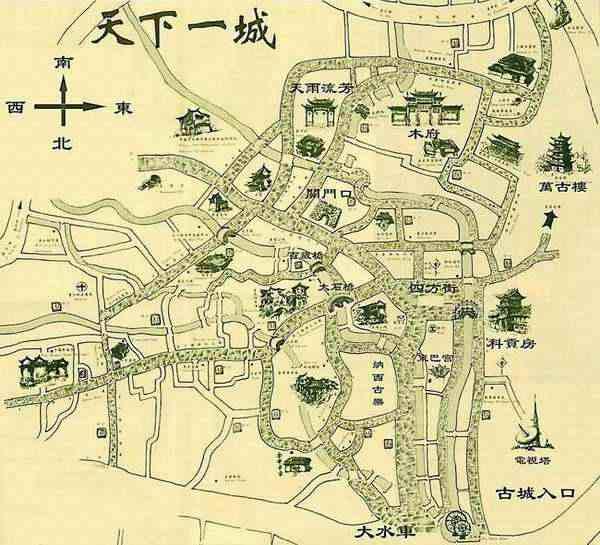 丽江古城旅游景点分布图