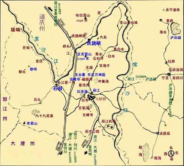 丽江旅游景点分布图